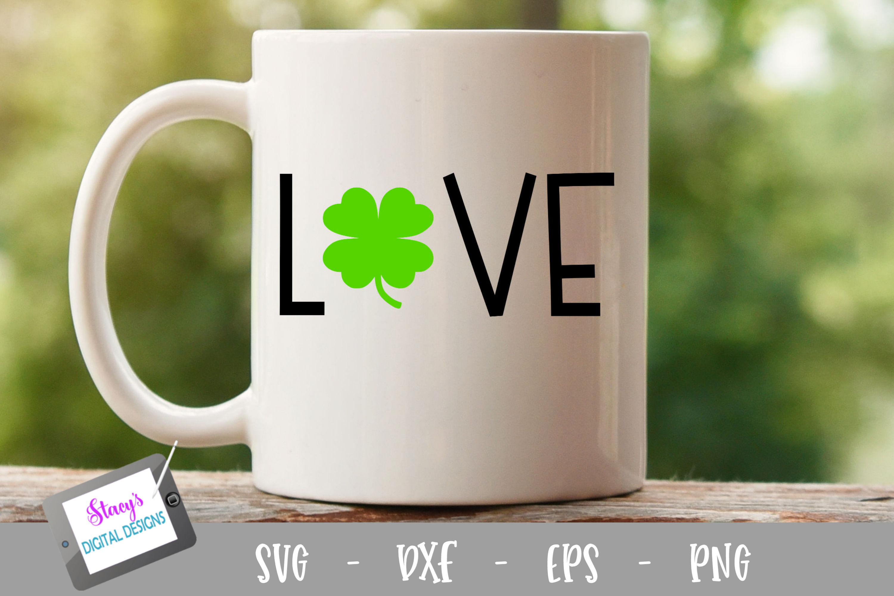 Love SVG - St. Patrick's Day Love SVG with clover example image 1