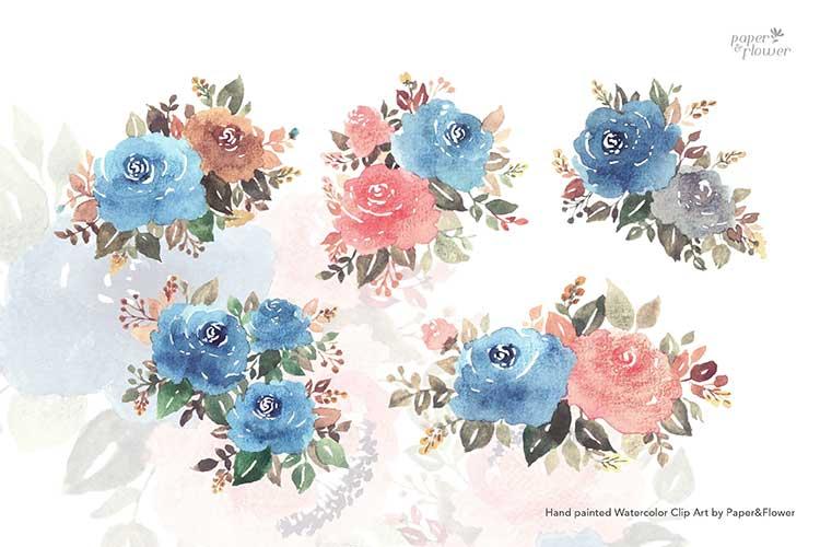 Vintage Blue Floral Watercolor Bouquet Set example image 2