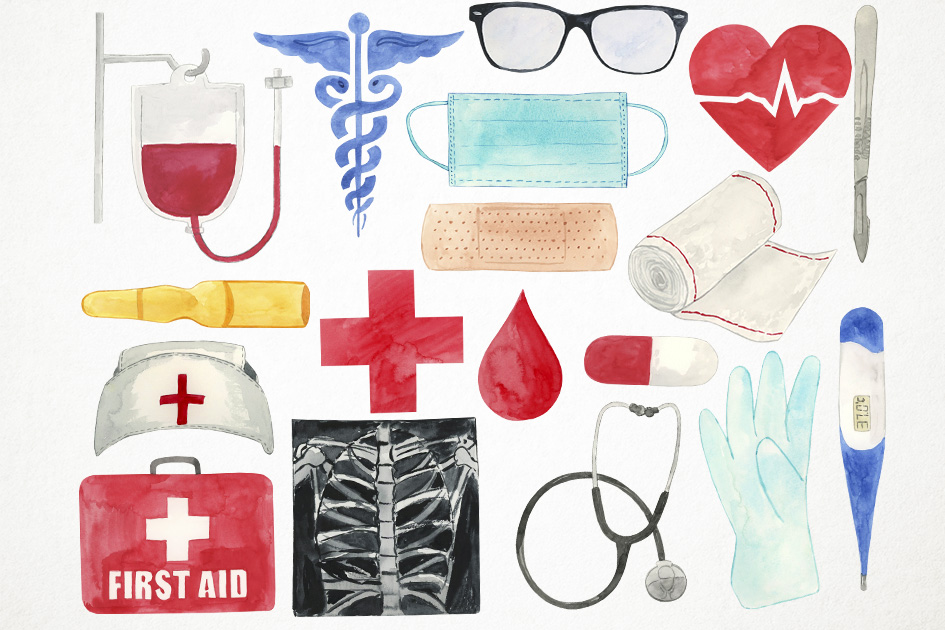 Watercolor Medical Clipart, Doctor Clipart, Health Clipart example image 2