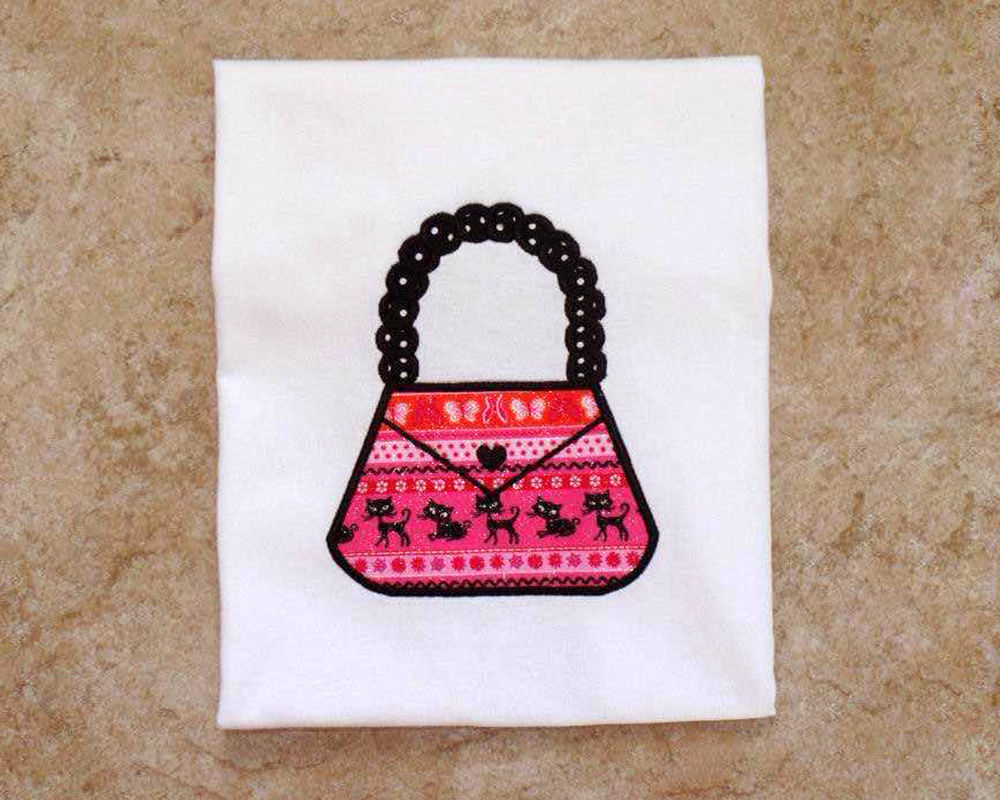 Purse with Beaded Handle Applique Embroidery Design example image 2