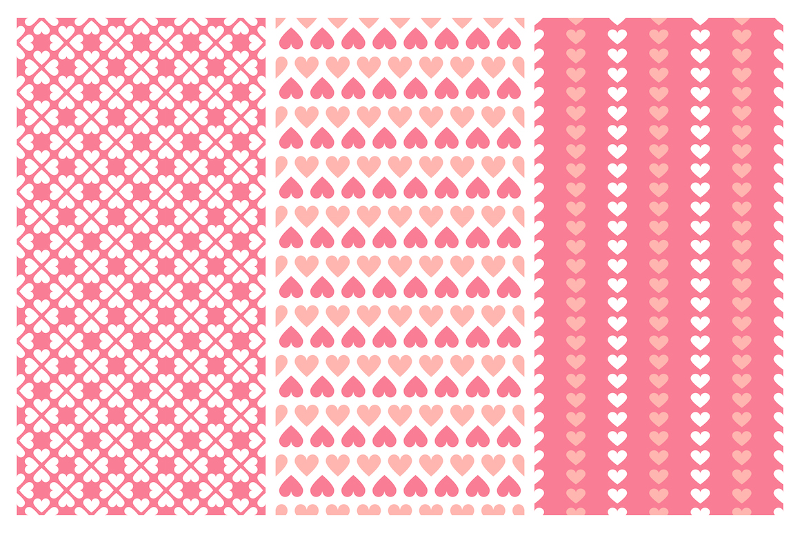 Vector seamless hearts patterns example image 6