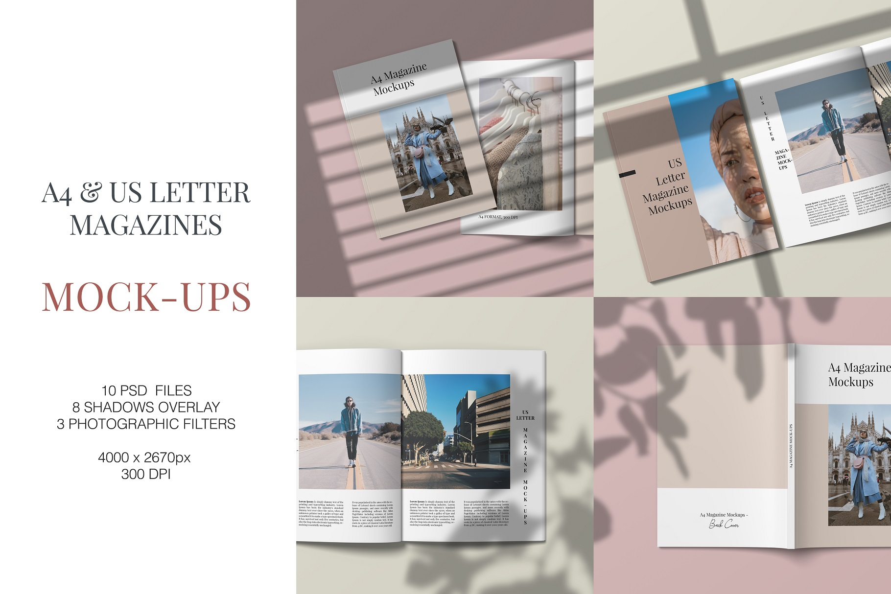 A4 and US Letter Magazines Mock-Ups example image 1