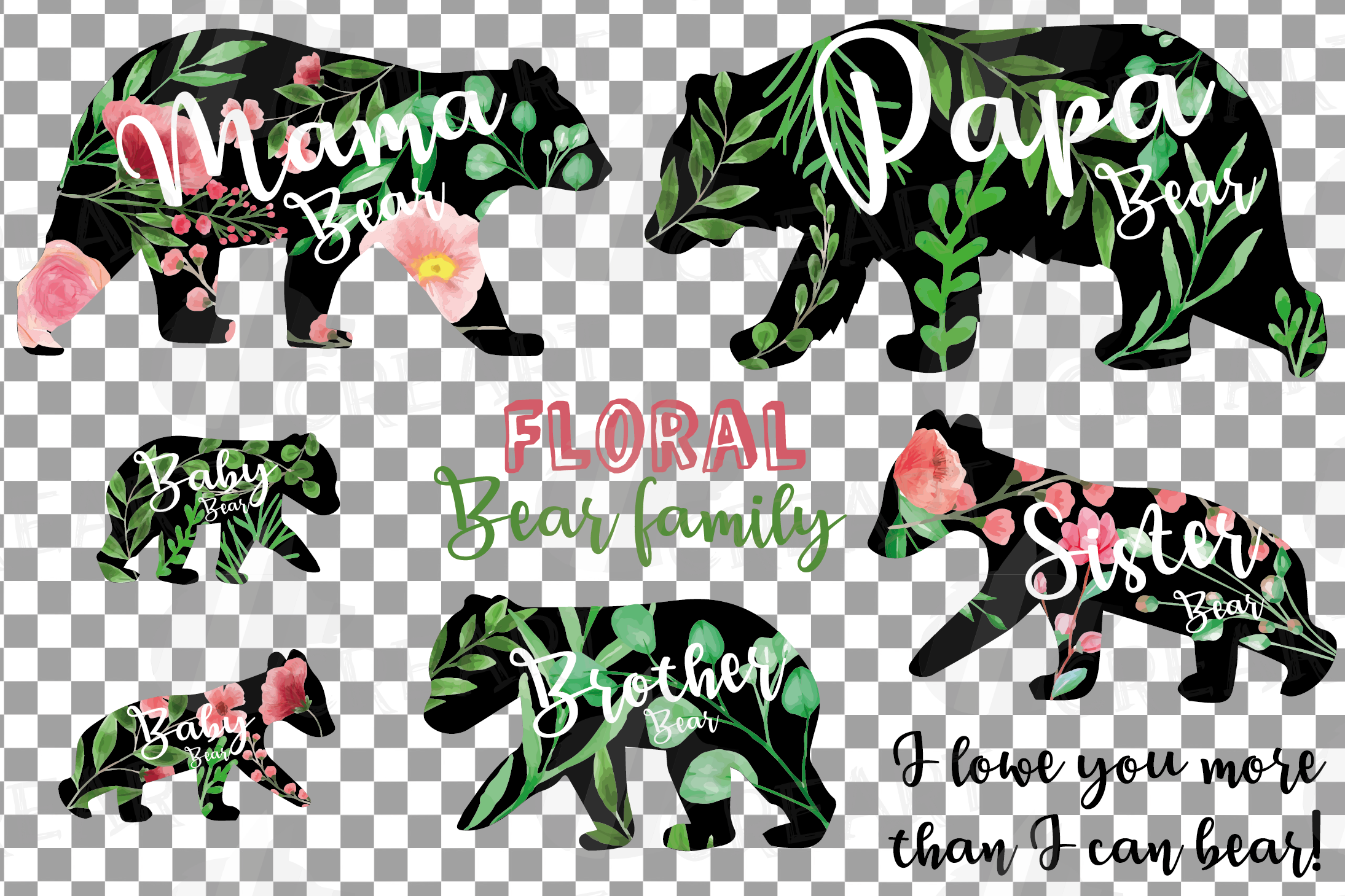 Floral bear family, sister, brother, baby, papa and mama example image 23