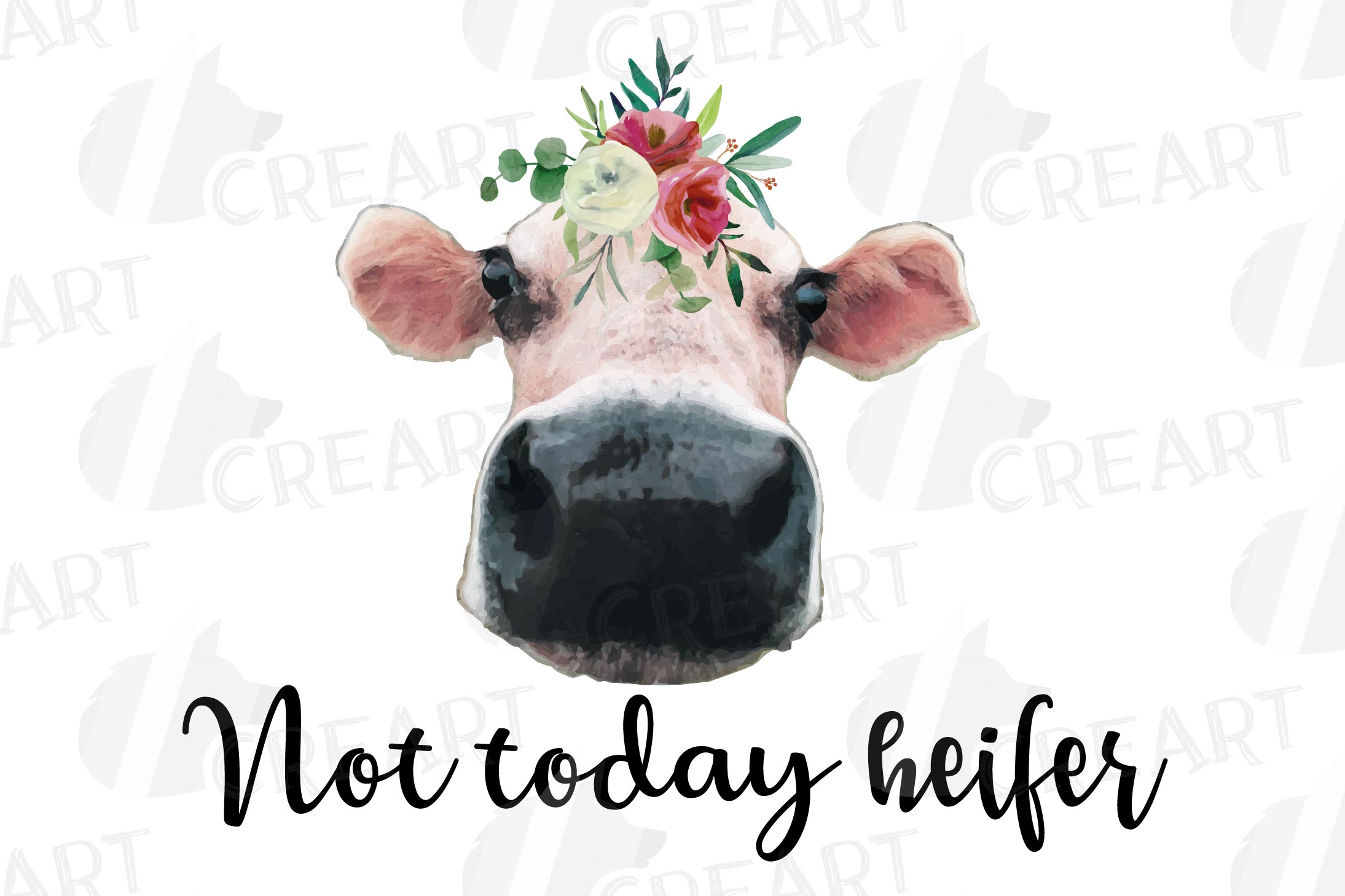 Cows with floral crown clip art. Not today heifer graphic example image 8