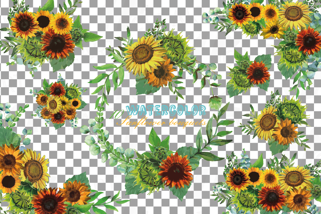 Watercolor sunflower bouquets and design elements example image 2