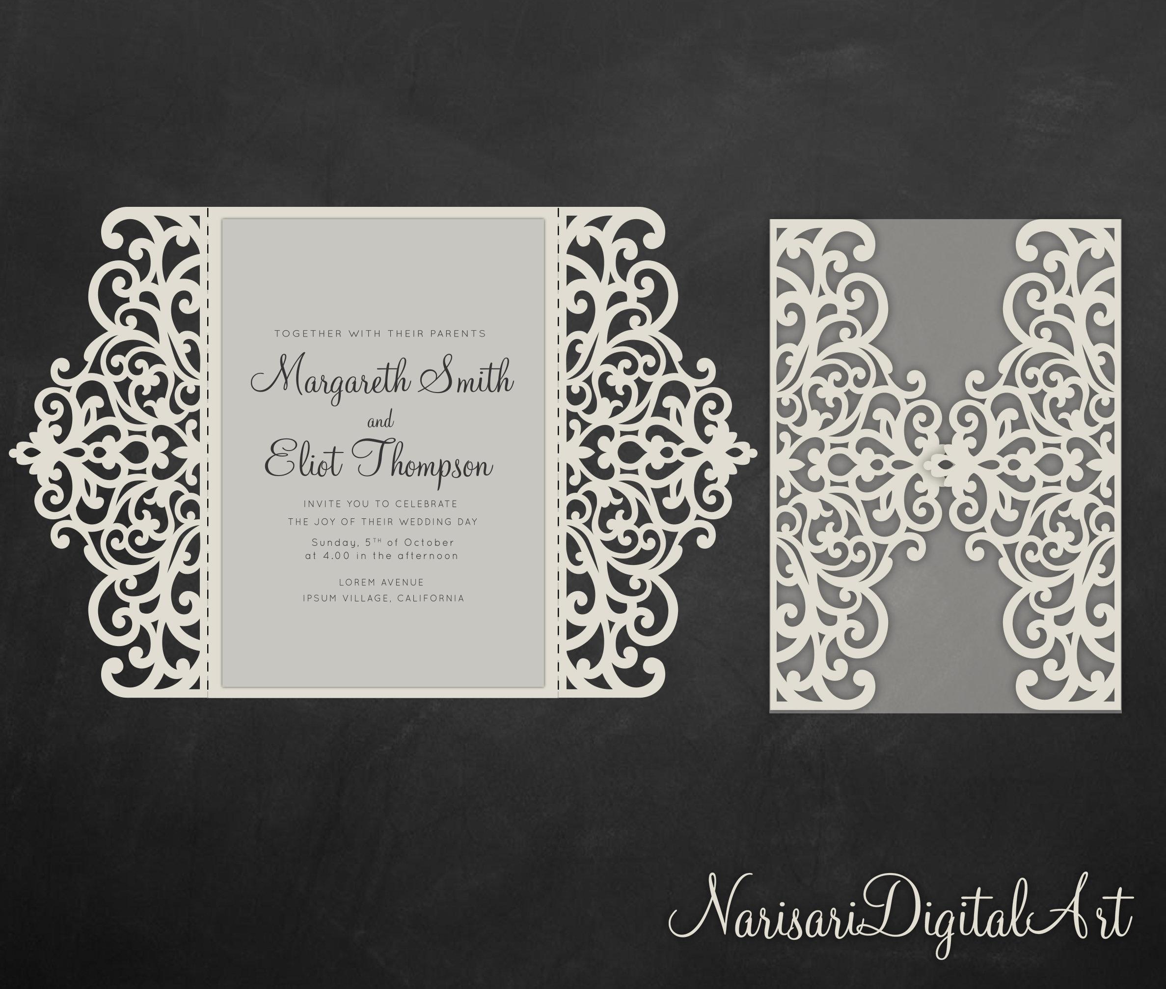 Gate fold wedding invitation , 5x7, Cricut Template, Quinceanera card - SVG, DXF