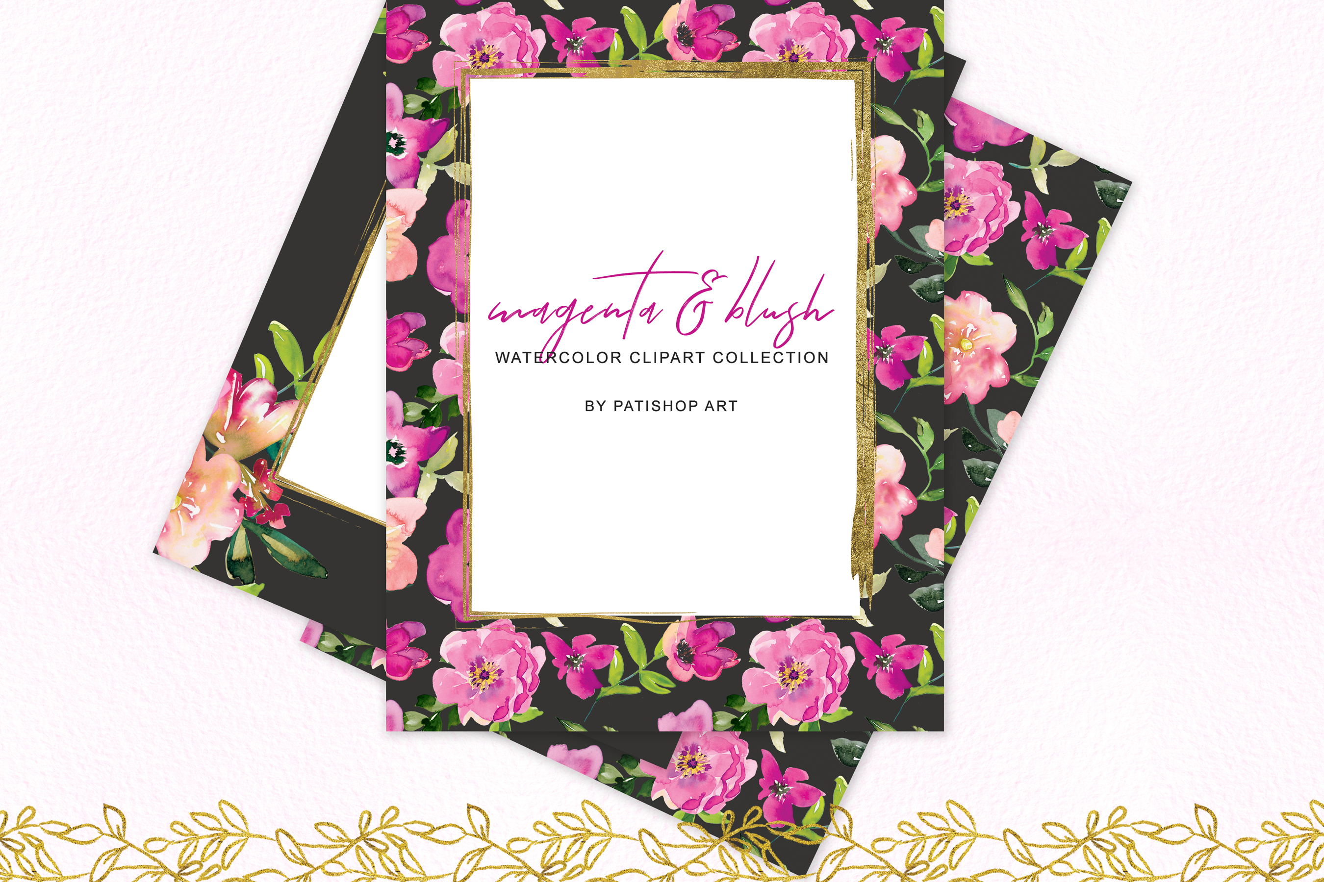 Watercolor Magenta and Blush Floral Bouquet Clipart example image 7