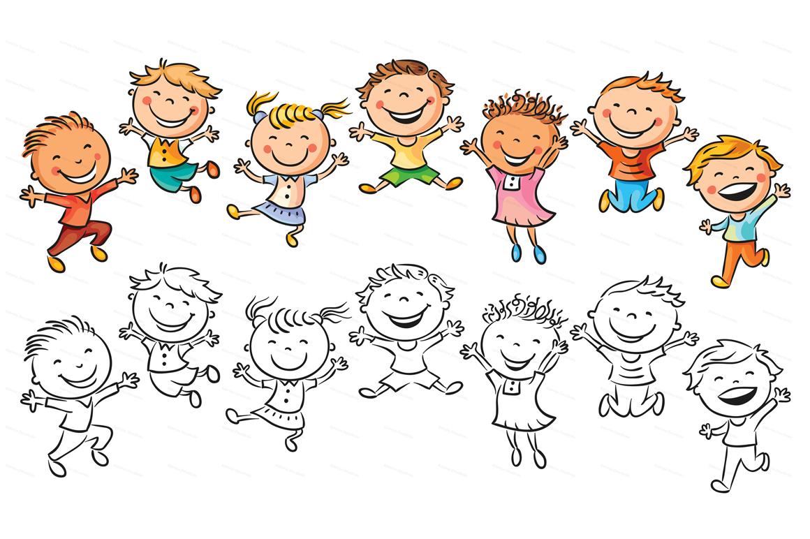 Happy Cartoon Kids Bundle, children doodle, kids doodle example image 26