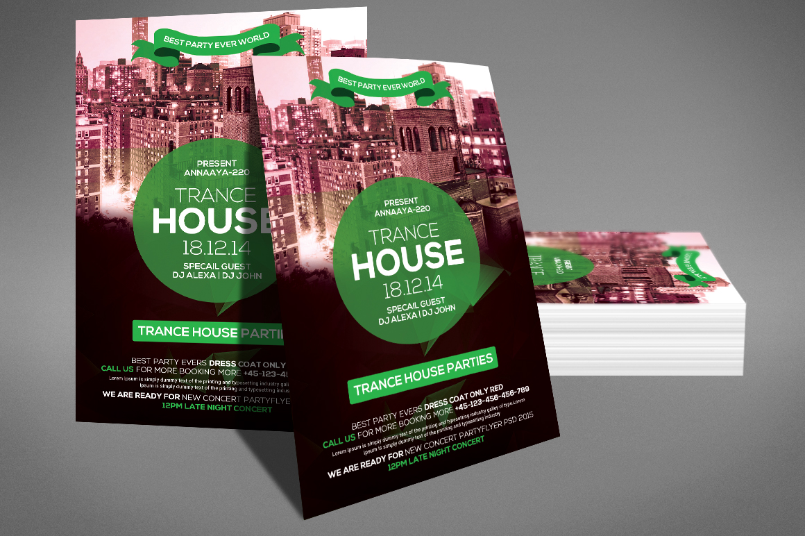 Trance House Party Flyer example image 3