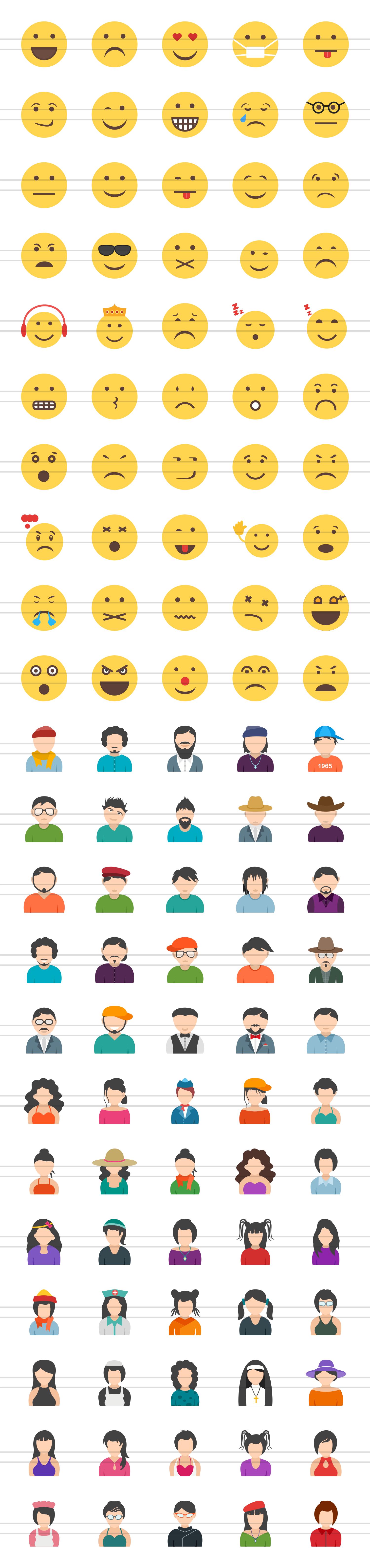 110 Avatars & Emoticons Flat Icons example image 2