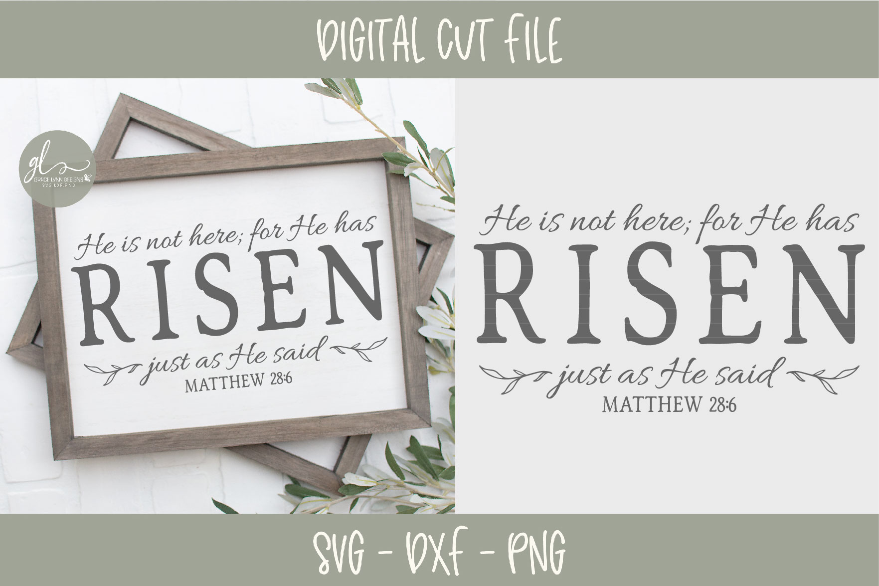He Is Not Here For He Has Risen - Scripture SVG example image 1