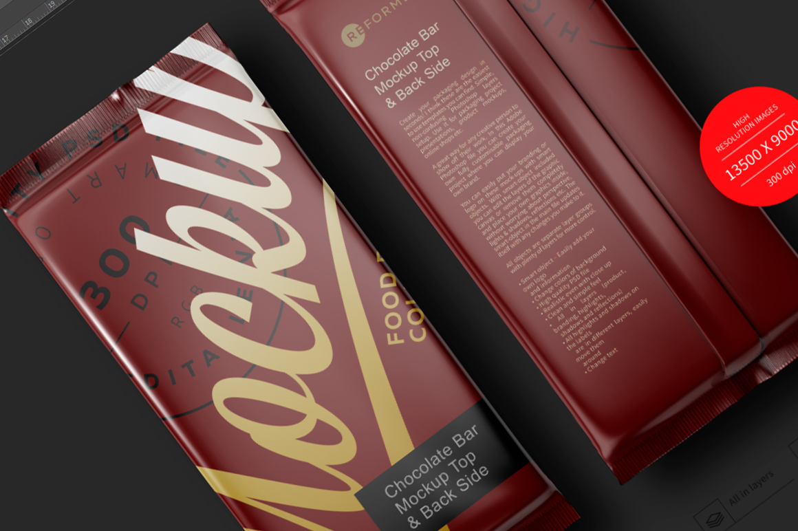 Chocolate Bar Mockup Top & Back Side View example image 6