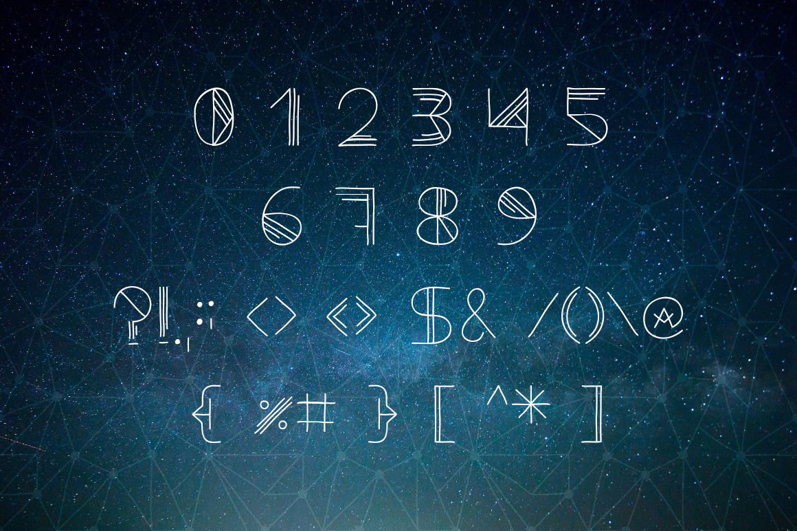 Cosmic. Doodle geometric font example image 3