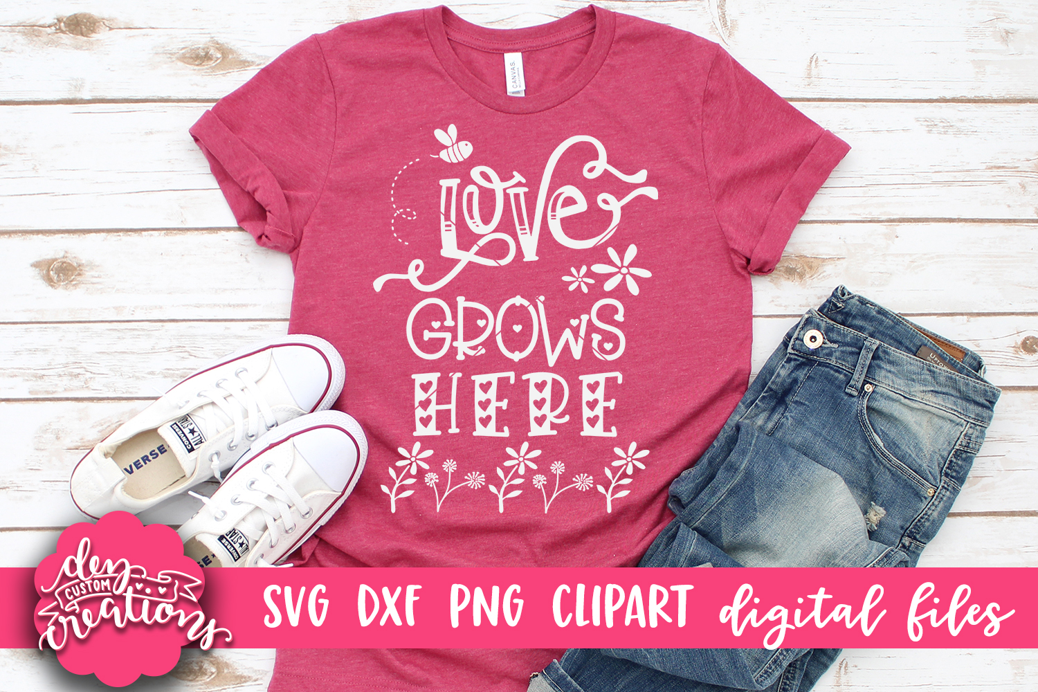 Love Grows Here 2- SVG DXF PNG - Crafting Cut Files example image 2
