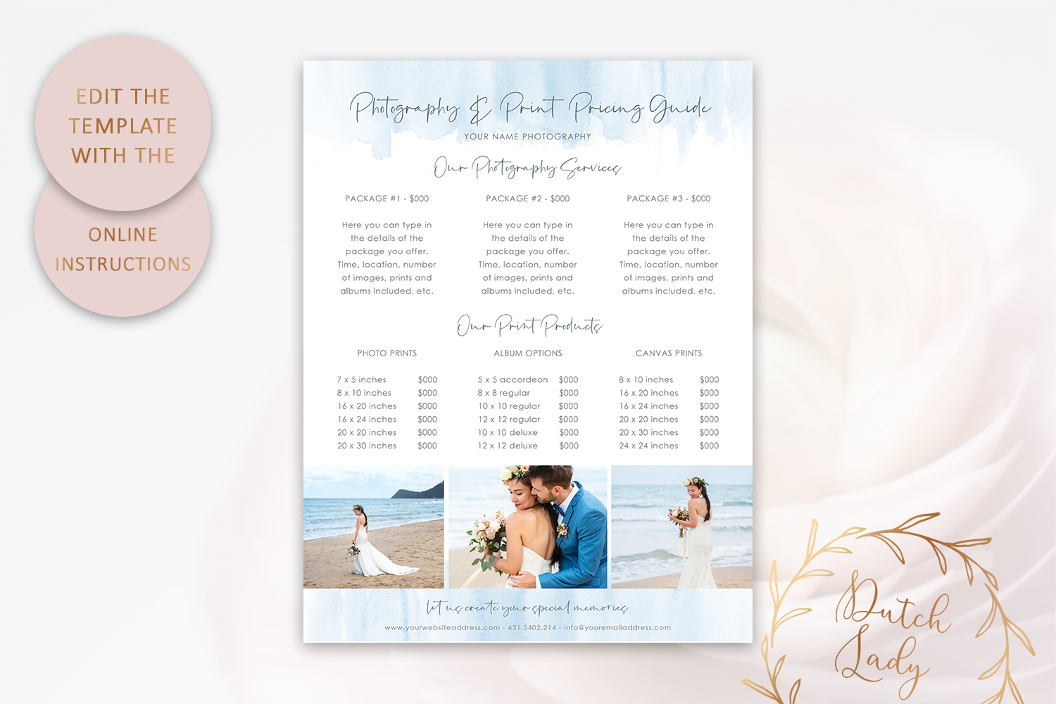 PSD Photography Pricing Guide Template Design #8 example image 5