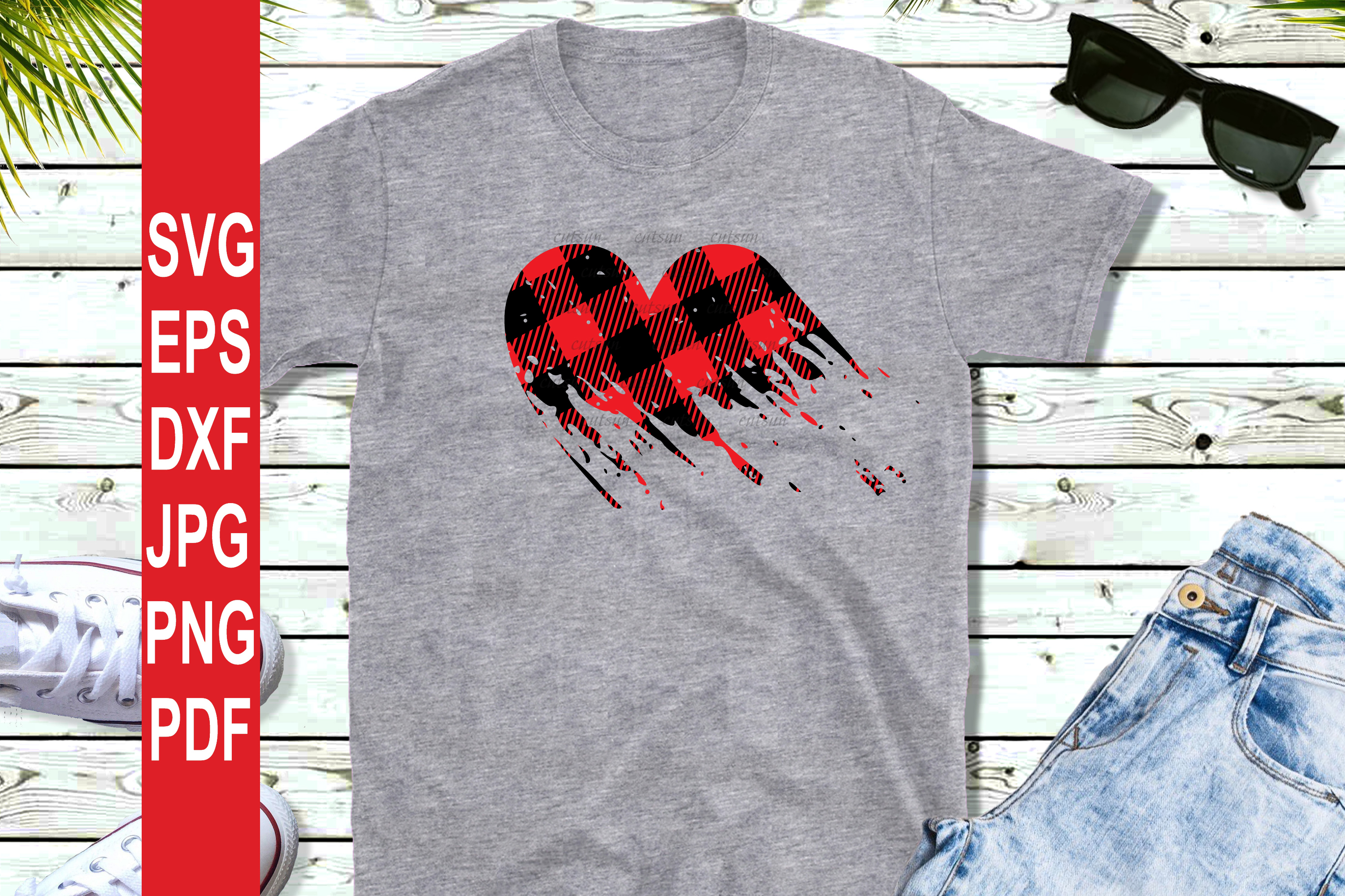Valentine SVG| Plaid Heart Distressed SVG | Valentines day S example image 2