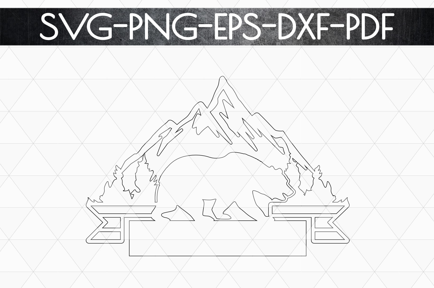 Wild Bear Sign Papercut Template, Adventure Cut Files, SVG example image 4