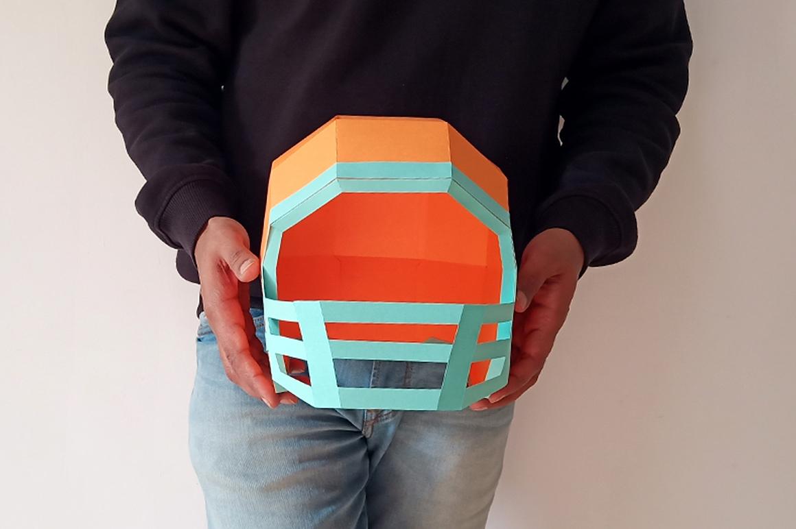 DIY Football Helmet - 3d papercraft example image 5