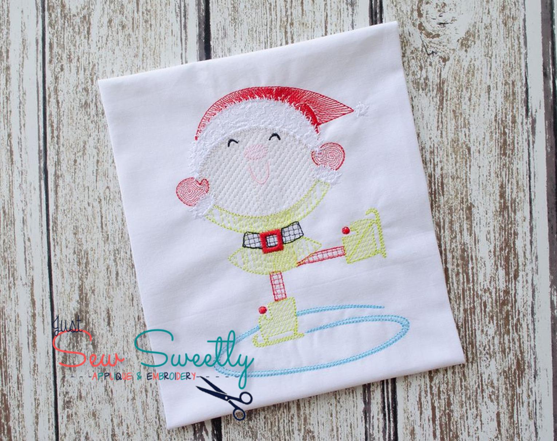 Christmas Elf Sketch Applique Embroidery Design example image 3