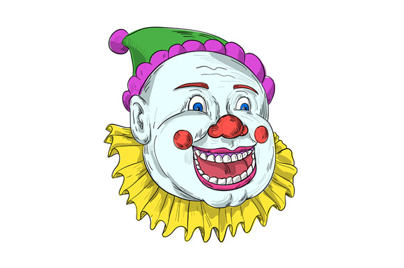 Vintage Circus Clown Smiling Drawing example image 1