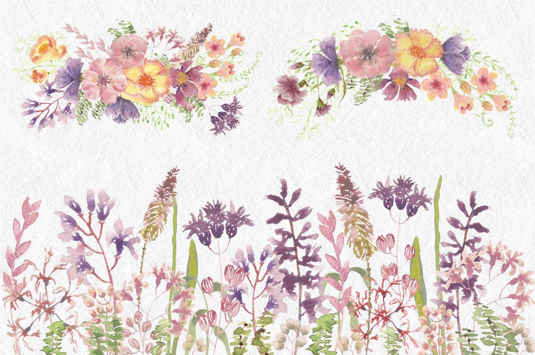 Watercolor clip art bundle: wild flowers example image 3