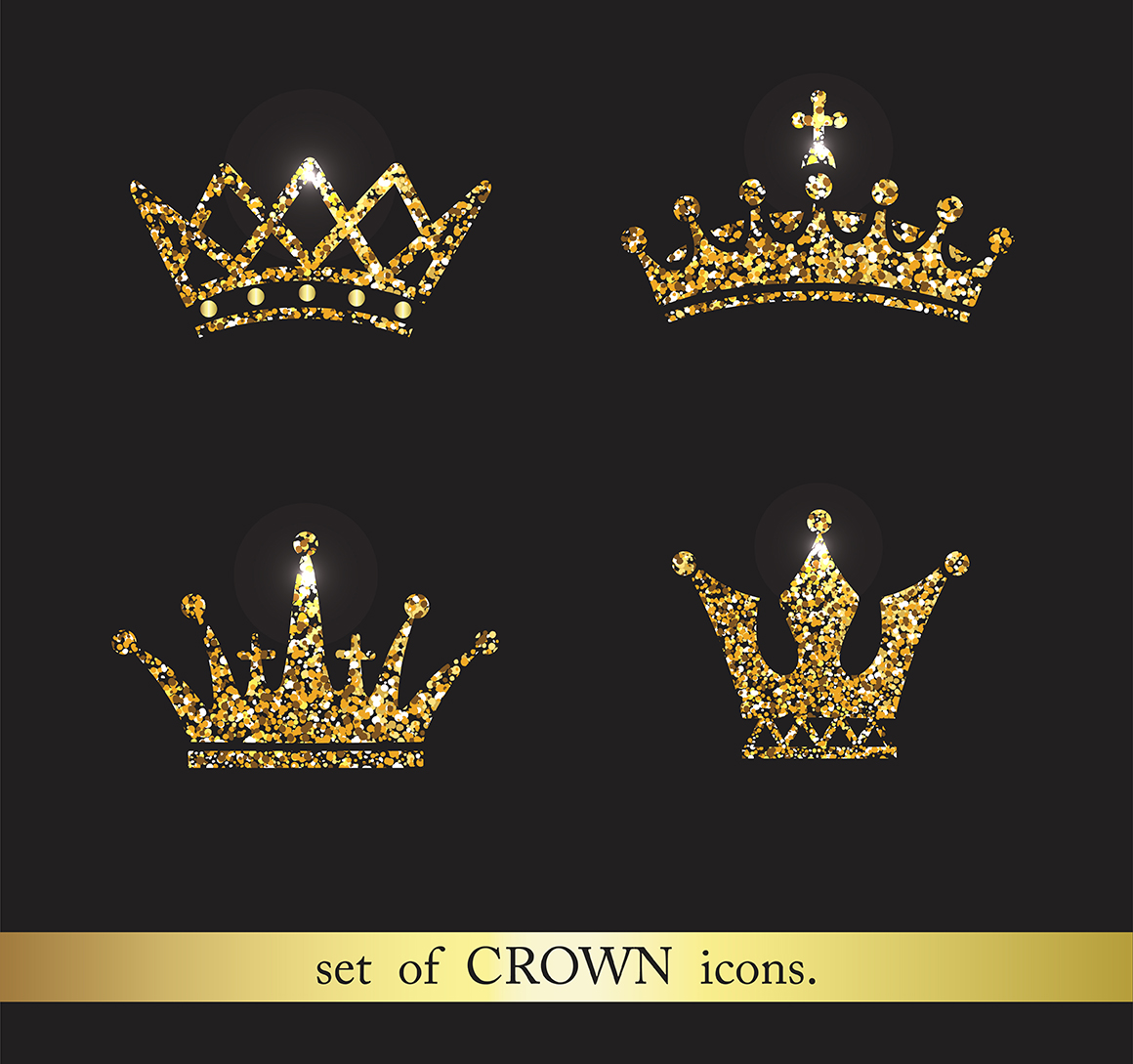 set of gold and silver crown icons b design bundles