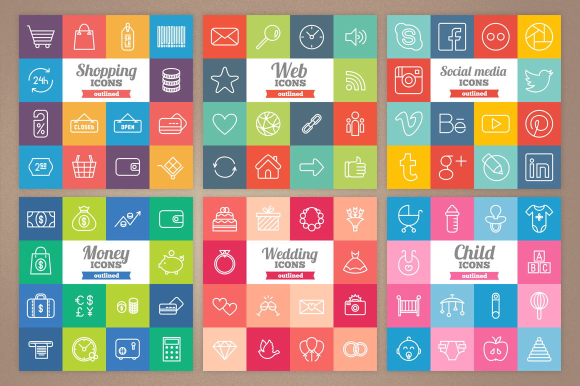 83 Off - Outlined Icons Big Bundle example image 2