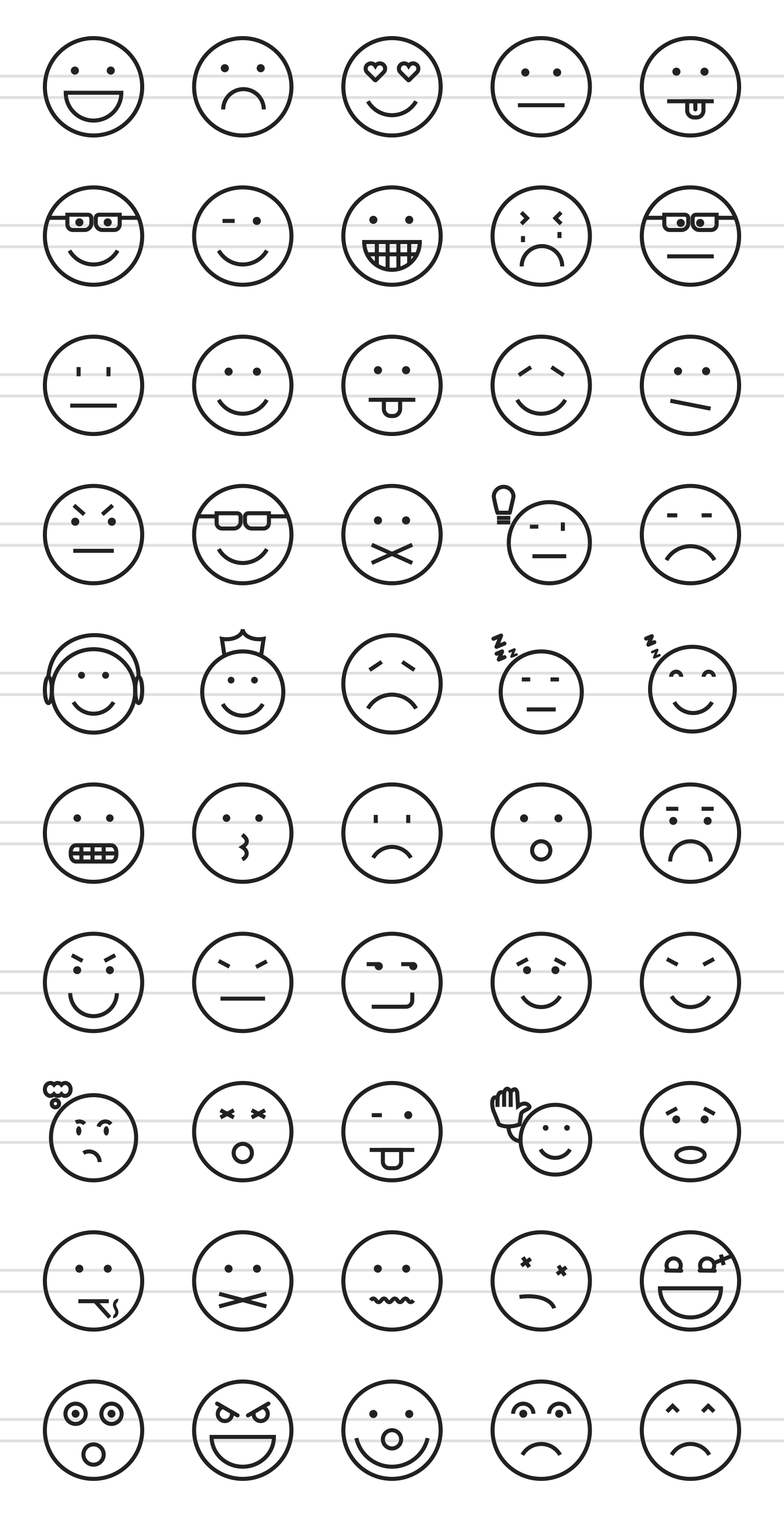 50 Emoticons Line Icons example image 2