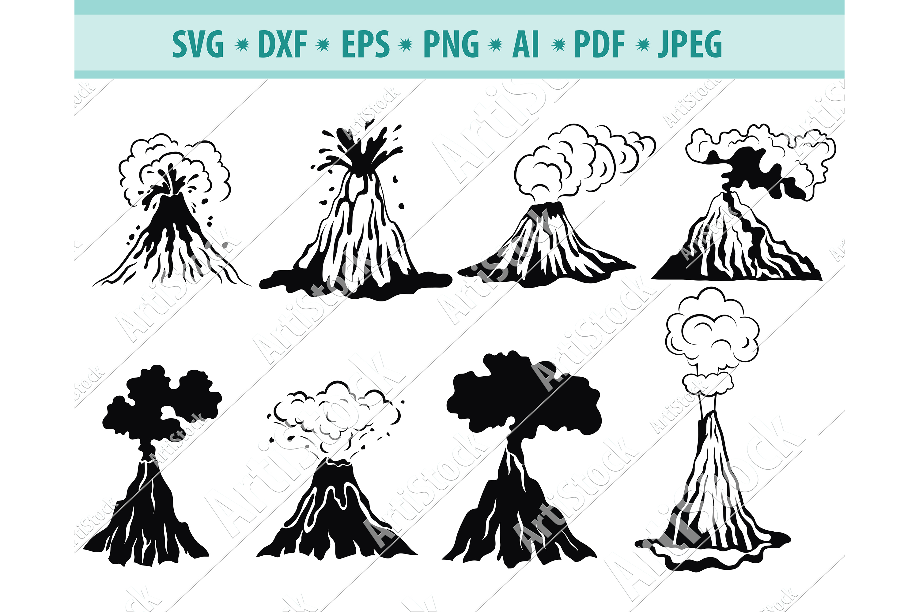 Volcano SVG, Volcano Clipart, Cataclysms Svg, Dxf, Png, Eps example image 1