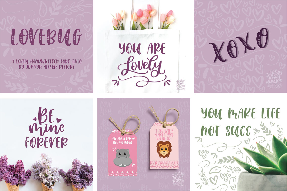 Lovebug Hand Lettered Font Trio, Valentine's Heart Font example image 9