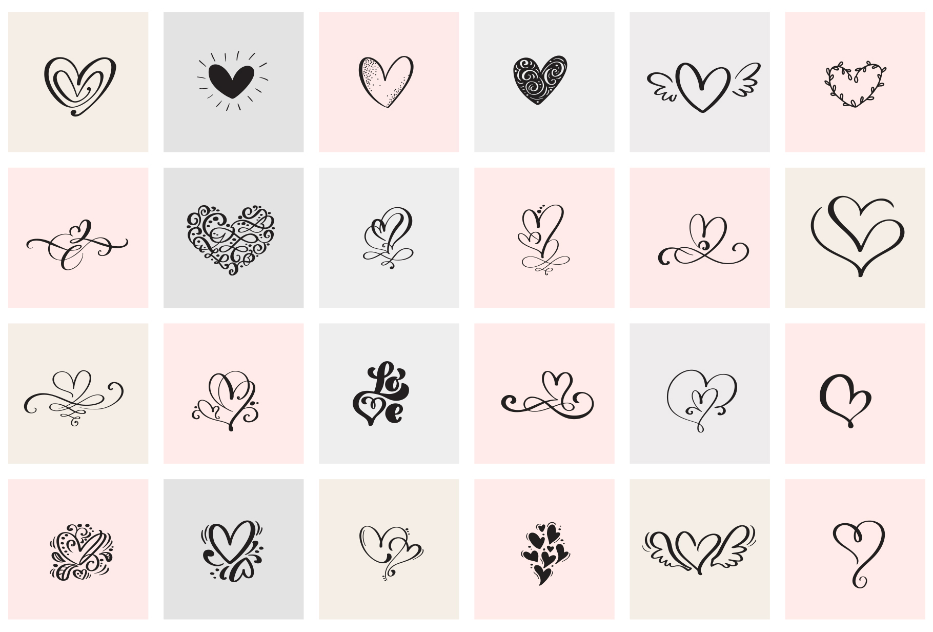 Valentine vector hand draw hearts SVG example image 9