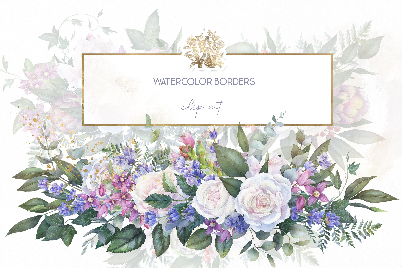 White rose wedding frame clip art example image 1