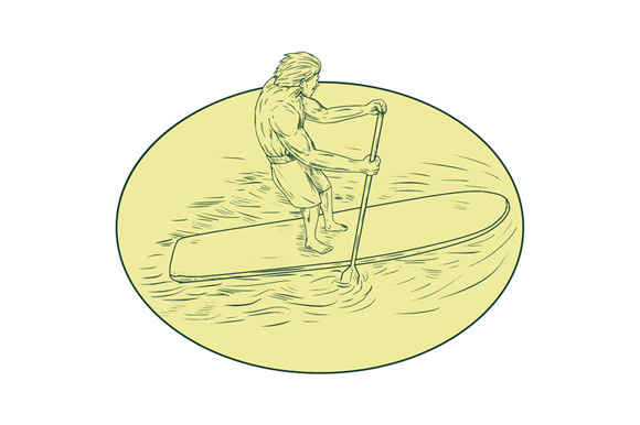 Surfer Dude Stand Up Paddle Oval Drawing example image 1
