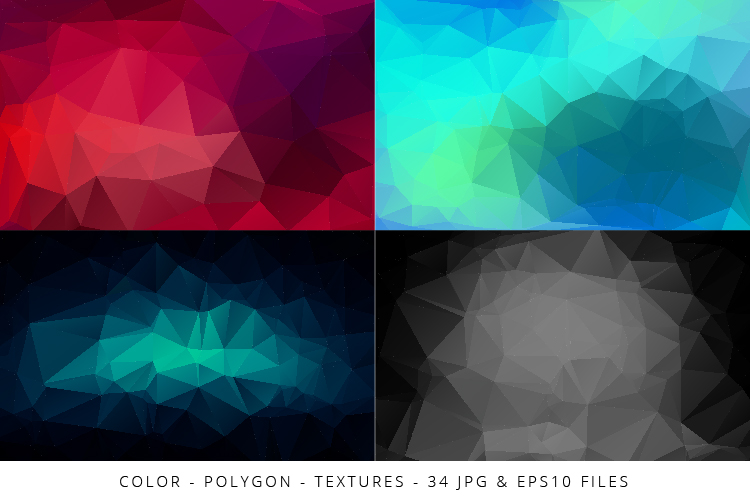 Colorful Low Poly Geometric Digital Papers Eps10 and JPG example image 6
