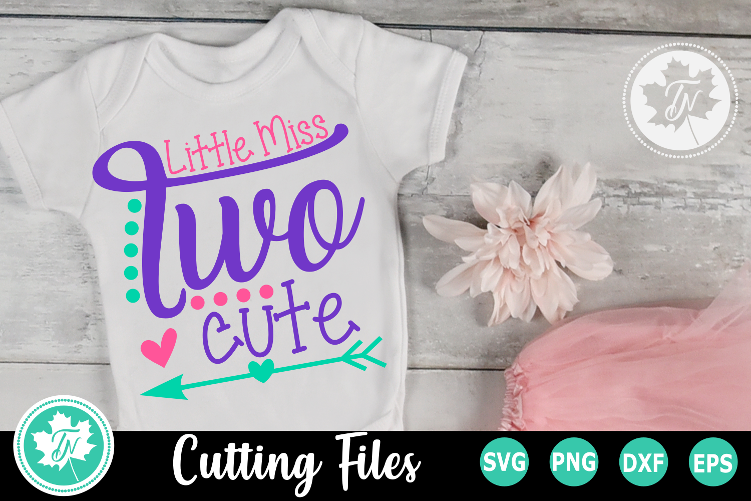 Little MIss Two Cute - A Second Birthday SVG Cut File example image 1