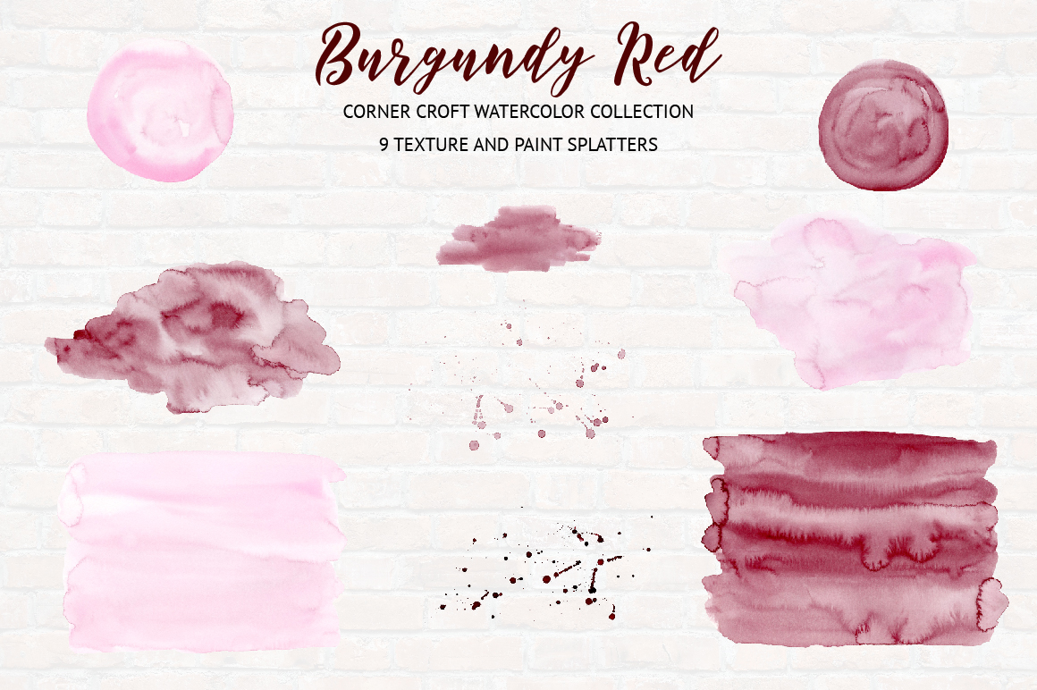 Watercolor Collection Burgundy Red example image 6