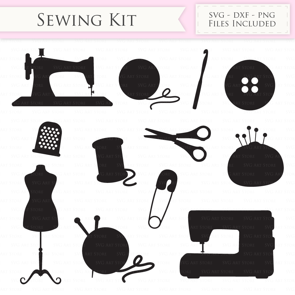 Sewing Machine SVG Knitting svg cutting files Cricut and Silhouette SVG dxf png jpg included. Crochet cutting files stitching svg example image 2