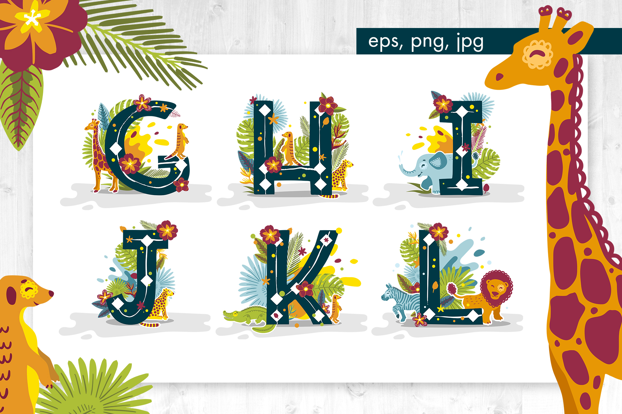 Tropical alphabet cartoon animals vector example image 3