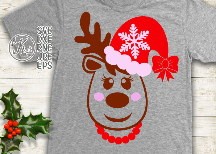 Christmas Reindeer in Santa hat with bow girl toddler svg example image 2