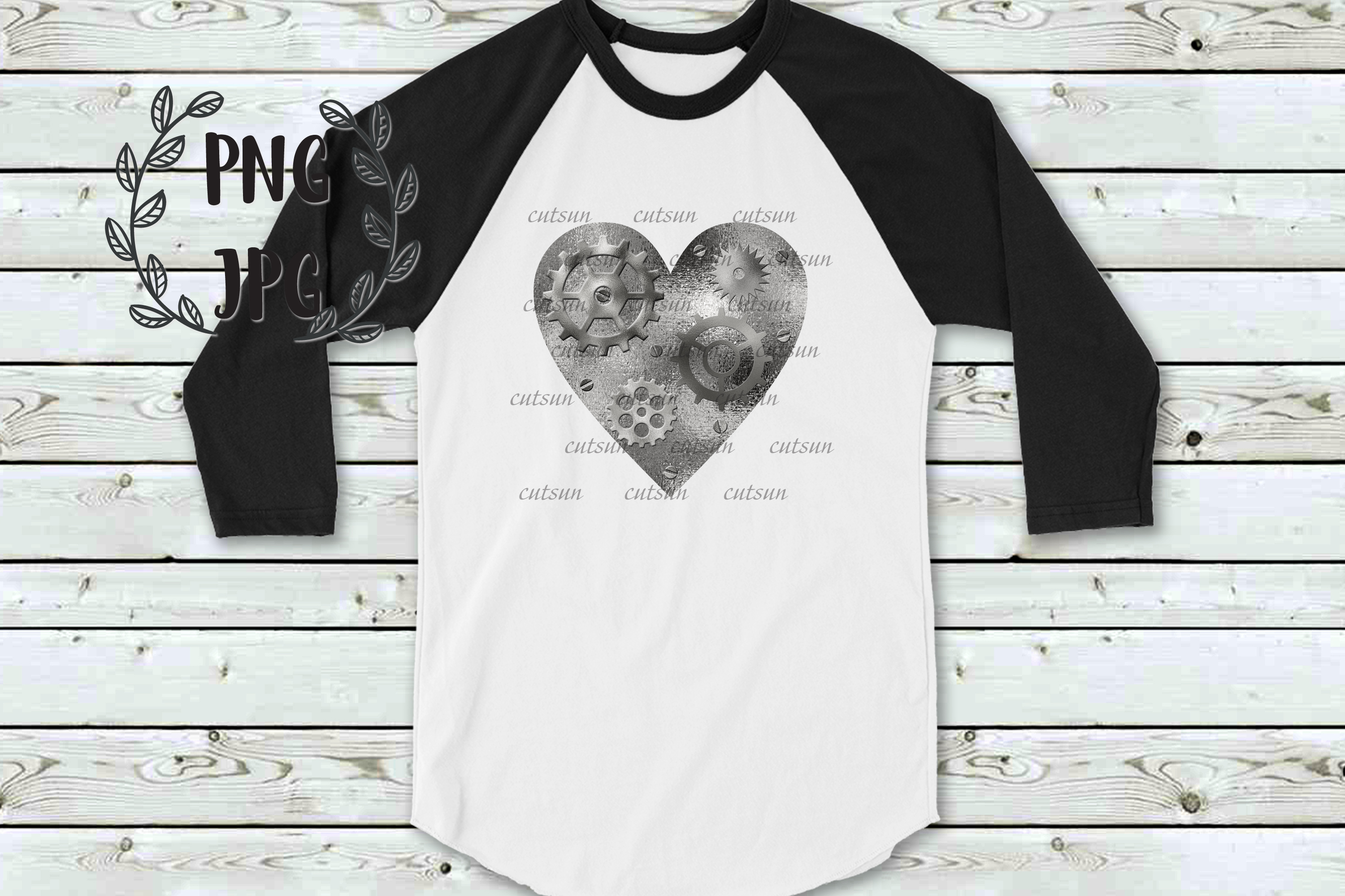 Steampunk Heart Silver sublimation design example image 2