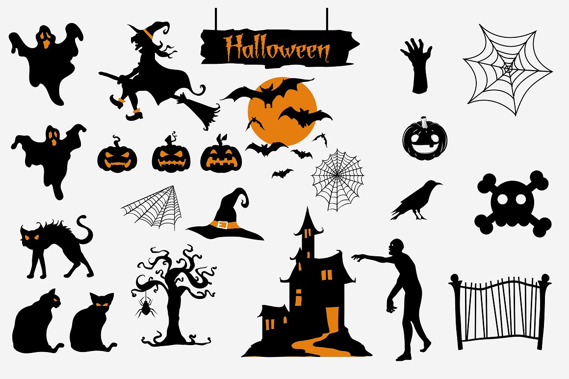 Halloween Clipart bundle 82 elements Eps and PNG example image 4