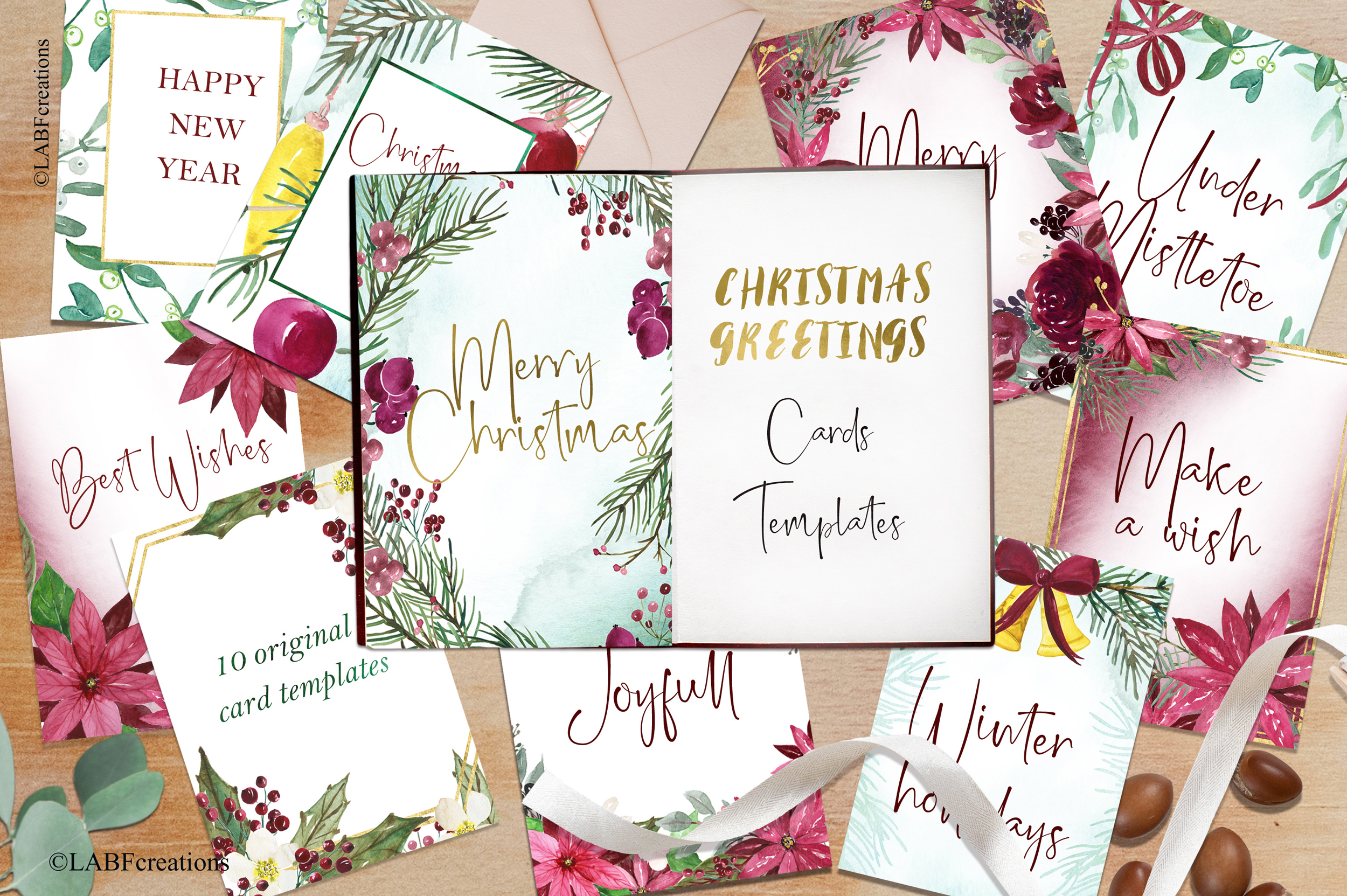 Christmas greetings. Hand drawn watercolor collection. example image 2
