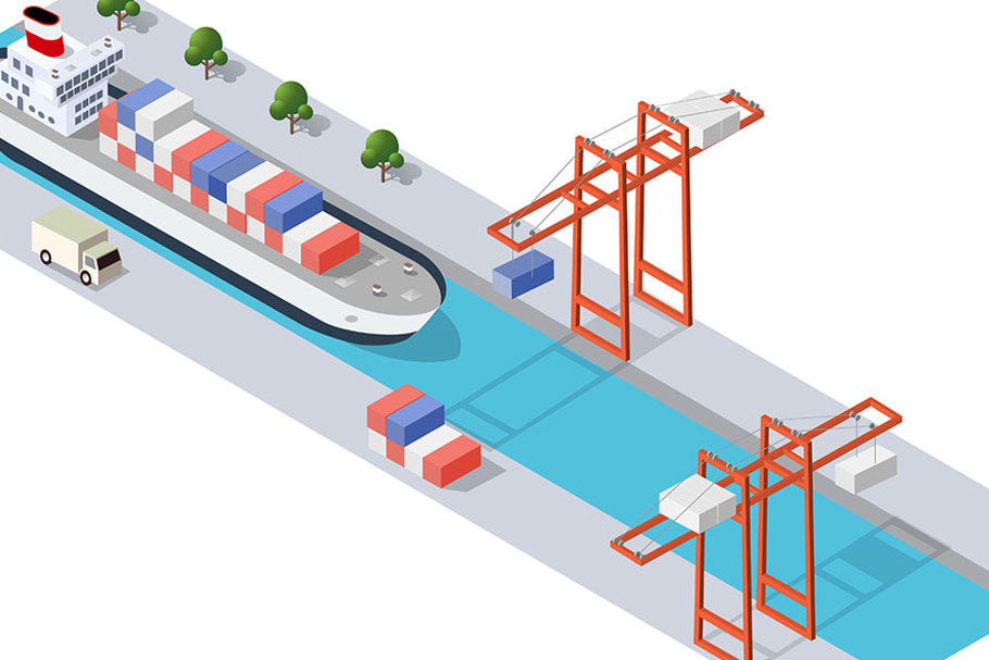 Isometric port cargo ship example image 5