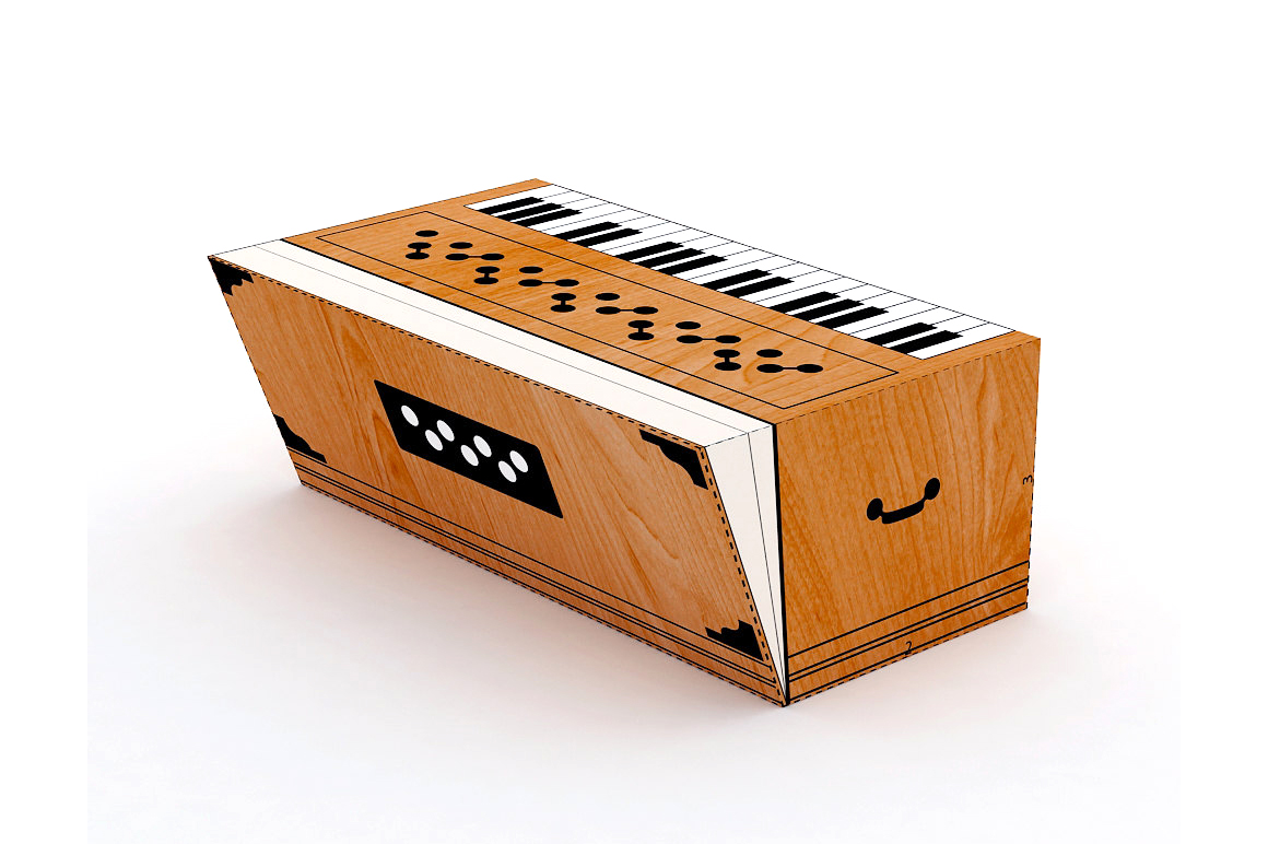 DIY Harmonium favor - 3d papercraft example image 1