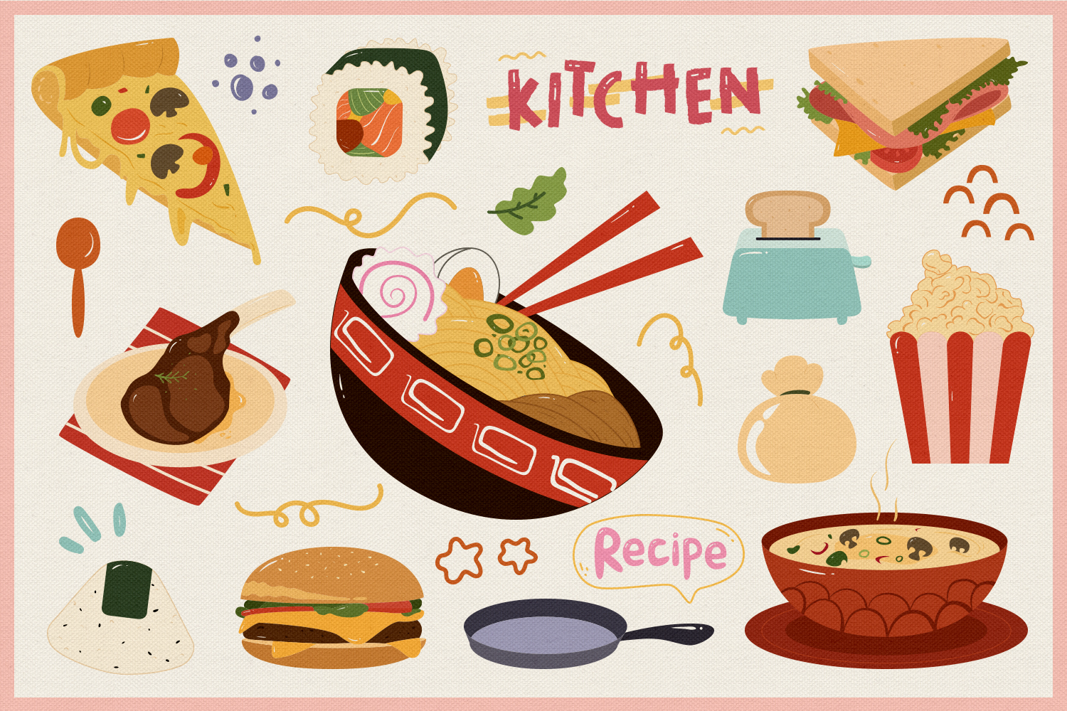 Food Vector Clipart & Seamless Patterns example image 5