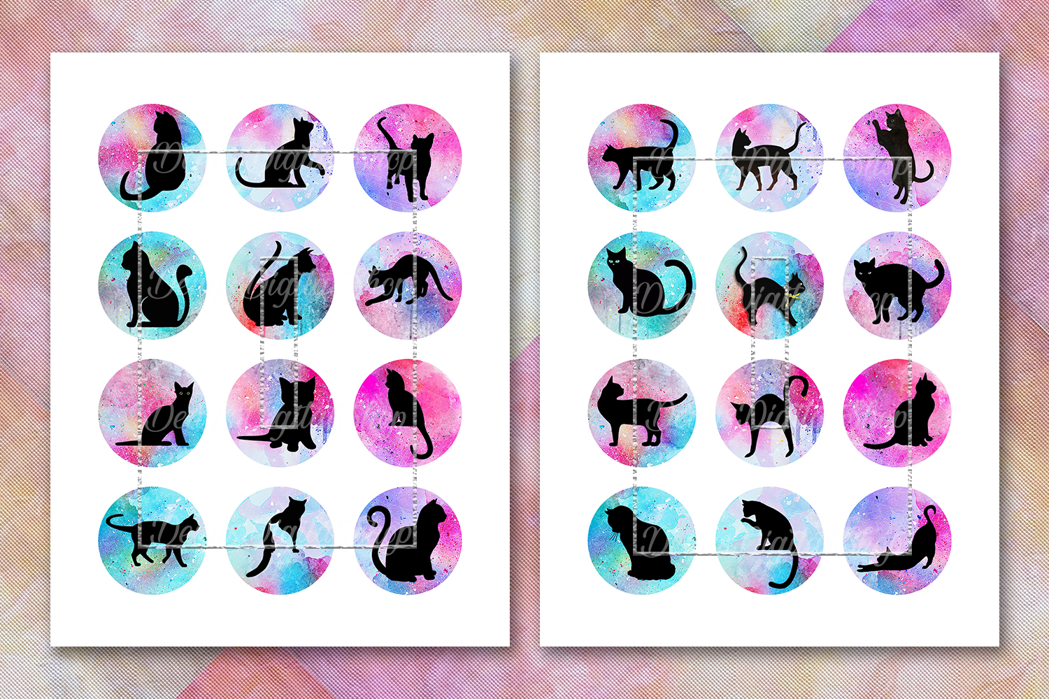 Cat Silhouette,Image Digital Cabochon,Cats Printable Images example image 2
