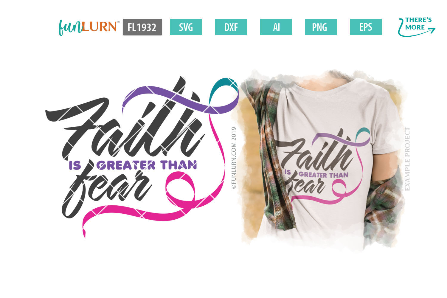 Faith is Greater Than Fear Purple Teal Pink Ribbon SVG example image 1