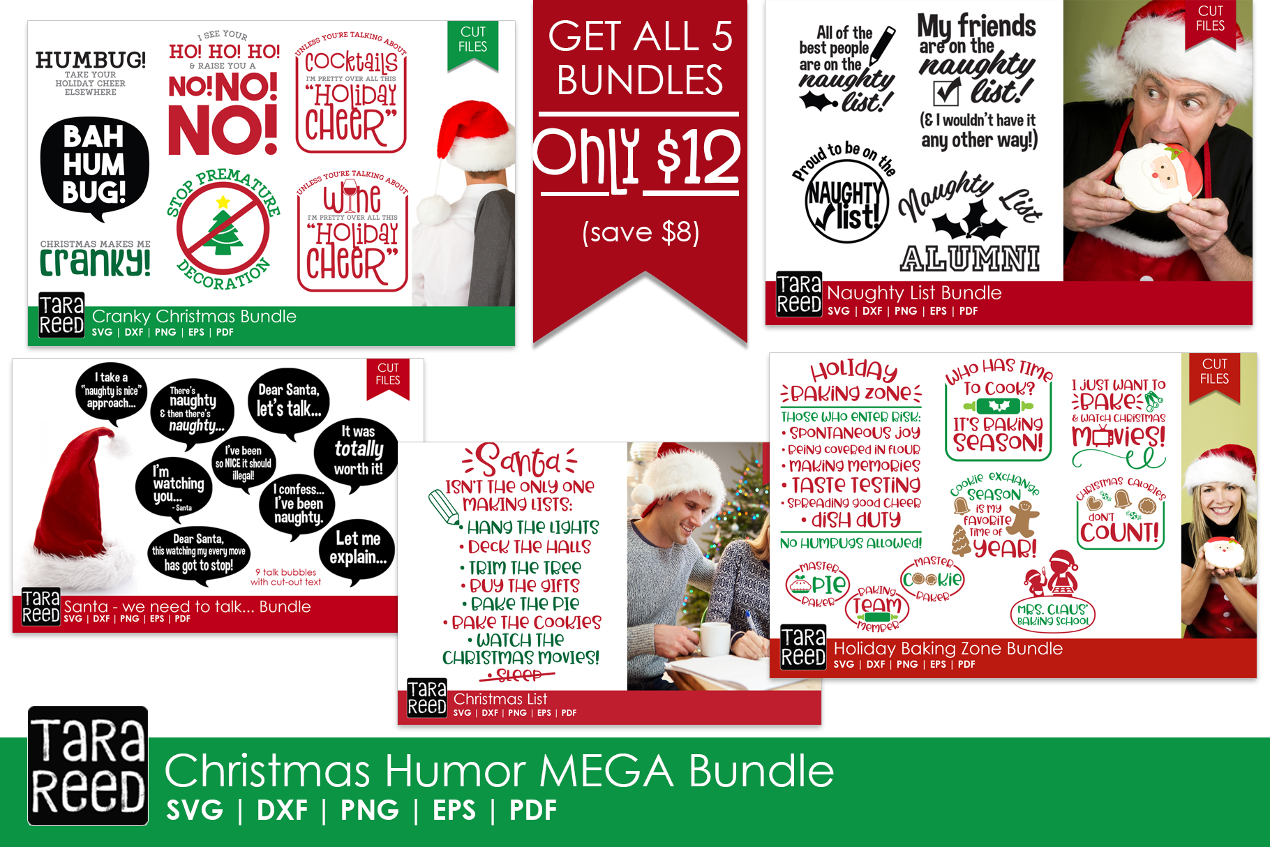 Christmas Humor MEGA Bundle - SVG and Cut Files for Crafters example image 1
