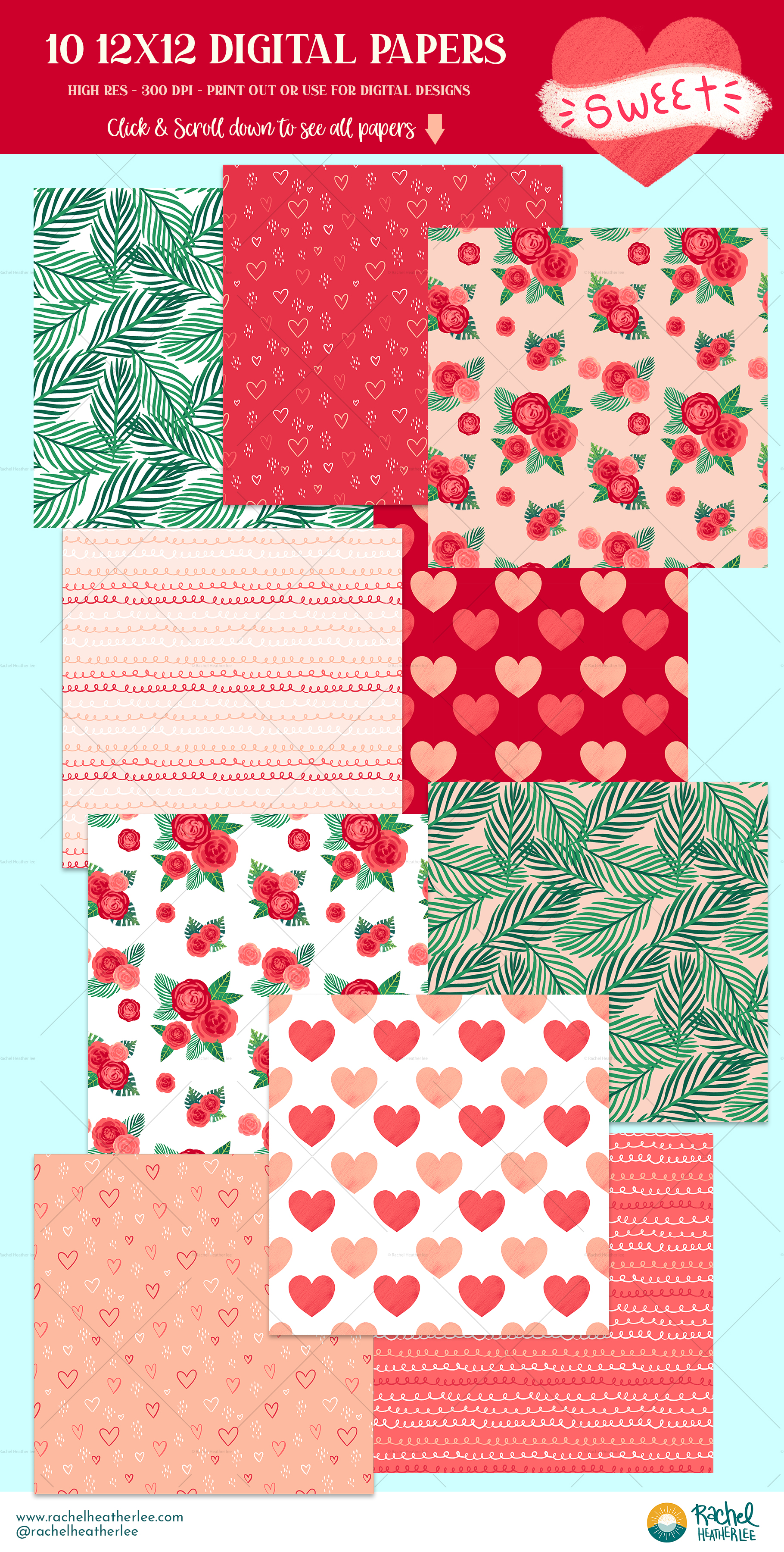 Tropical Valentine Clipart & Patterns example image 4
