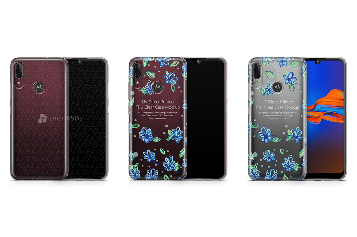 Motorola E6s 2019 TPU Clear Case Mockup example image 1